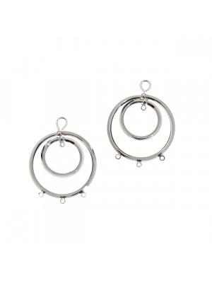 Base per orecchino a forma di doppio cerchio liscio, 24x30 mm.