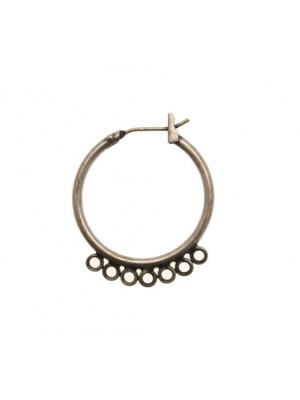 Cerchio per orecchino apribile, con chiusura americana, largo 23 mm., lungo 28 mm.
