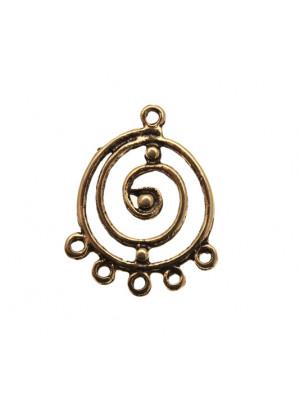 Cerchio lavorato a spirale, per orecchino, largo 27 mm., lungo 34 mm.