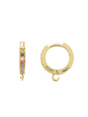 Cerchio con strass incastonati sul davanti, 16x14 mm., base colore Oro Lucido, colore strass Multicolor
