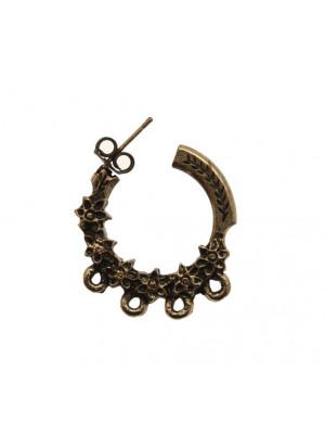 Cerchio a tre quarti per orecchino, martellato, largo 26 mm., lungo 32 mm.