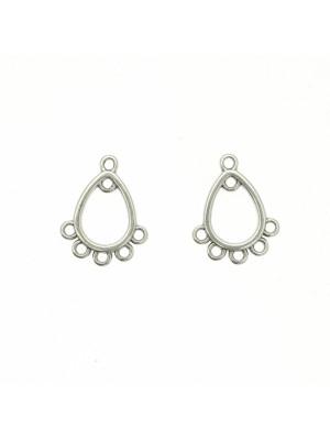 Base per orecchino a forma di goccia, con due anelli sopra e quattro anelli sotto, 12x16 mm.