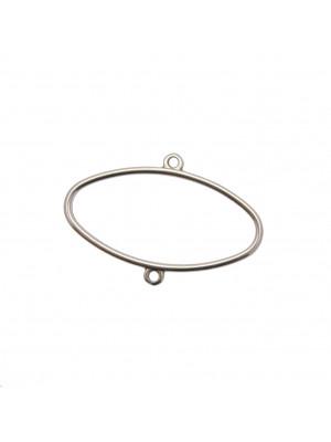 Base orecchino ovale con due anelli 40x26 mm.