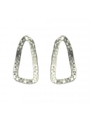 Base per orecchino a forma di triangolo allungato, con un foro sopra e tre fori sotto, 17x33 mm.