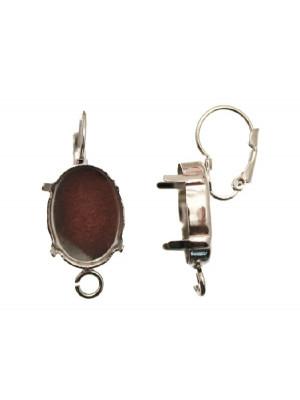 Monachella chiusa con porta strass (gemma o cabochon ovale 18x13 mm.), 34x13 mm.