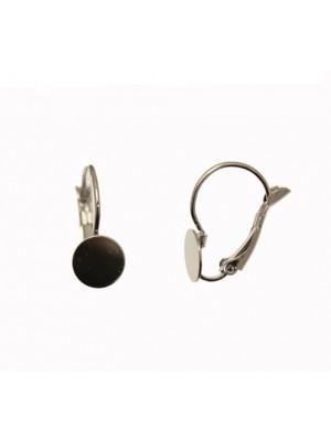 Monachella tonda chiusa a molla con una piastra tonda piatta da incollo saldata sul davanti, 18x8 mm., CONF.2 PZ