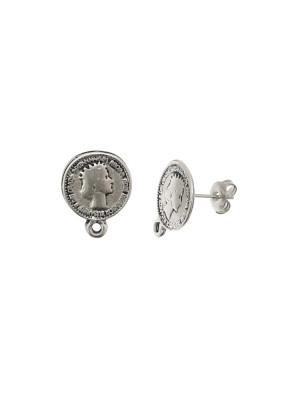 Perno a forma di medaglia tonda, a forma di moneta inglese,14x18 mm.