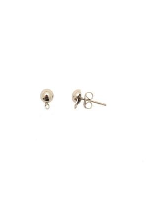 Perno a mezza sfera liscia da 6 mm., con un anellino chiuso sotto, CONF.2 PZ