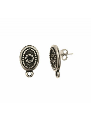 Perno ovale, con margherita porta strass (PP18-PP24) centrale, largo 13 mm., lungo 21 mm., con un anellino chiuso sotto