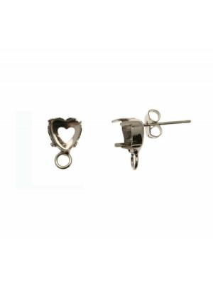 Perno con castone a cuore porta strass (gemma a cuore 8,8x8 mm.), 8x12 mm., CONF.2 PZ