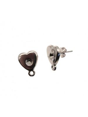 Perno porta strass, a forma di cuore piatto liscio, 13x16 mm., CONF.2 PZ