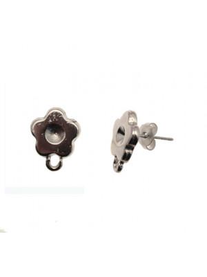 Perno porta strass, a forma di fiore piatto liscio, 13x16 mm., CONF.2 PZ