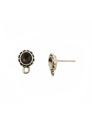 Perno tondo porta strass (gemma tonda conica SS29) da incollo, con smerletto nel contorno, largo 10 mm., lungo 13 mm.,