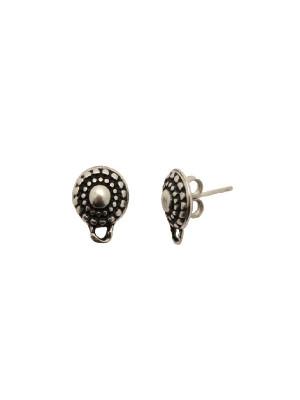 Perno tondo lavorato a puntini nel contorno e tondo liscio centrale, largo 10 mm., lungo 13 mm., con un anellino chiuso sotto