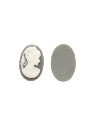 Cabochon a cameo ovale in resina, da incollo, color Grigio