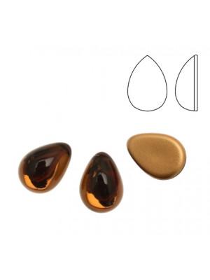 Cabochon a goccia liscia, in cristallo, colore MARRONE