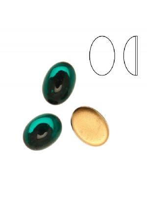 Cabochon ovale liscio, in cristallo, colore VERDE SMERALDO