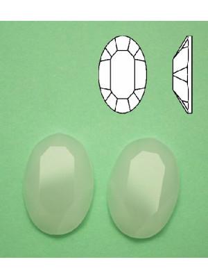 Cabochon ovale sfaccettato, in cristallo, colore BIANCO OPALE