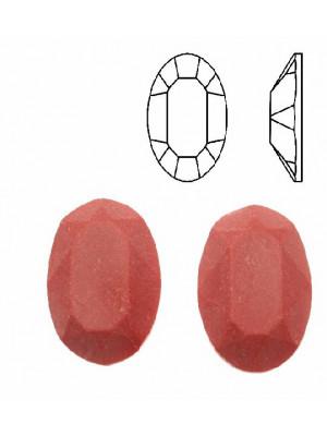 Cabochon ovale sfaccettato, in cristallo, colore CORALLO OPACO