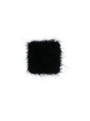 Cabochon quadrato, ricoperto in Lapin (sintetico), 10x10 mm., colore Nero
