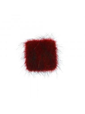 Cabochon quadrato, ricoperto in Lapin (sintetico), 10x10 mm., colore Bordeaux