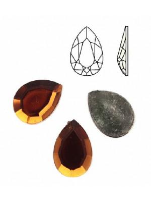 Cabochon a goccia sfaccettata, in resina, colore MARRONE