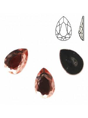 Cabochon a goccia sfaccettata, in resina, colore ROSA