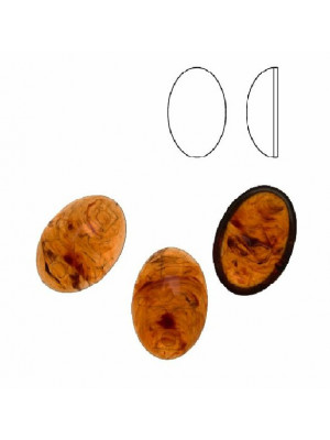 Cabochon ovale liscio, in resina, colore MARRONE SEMI-TRASPARENTE MACCHIATO