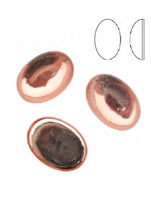 Cabochon ovale liscio, in resina, colore ROSA CHIARO