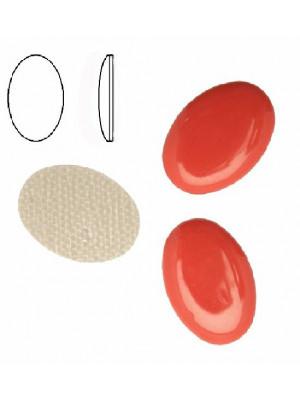 Cabochon ovale liscio, termoadesivo, in resina, colore DARK ORANGE