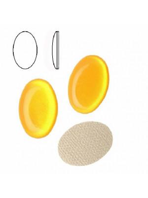 Cabochon ovale liscio, termoadesivo, in resina, colore GIALLO OCRA FLUORESCENTE