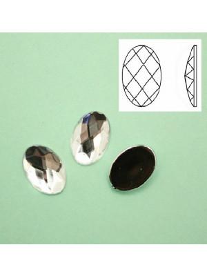 Cabochon ovale sfaccettato, in resina, colore CRYSTAL