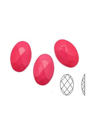 Cabochon ovale sfaccettato, in resina, colore FUCSIA FLUORESCENTE