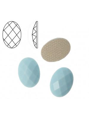 Cabochon ovale sfaccettato, termoadesivo, in resina, colore AZZURRO PASTELLO