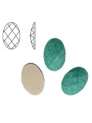 Cabochon ovale sfaccettato, termoadesivo, in resina, colore TURCHESE MARMORIZZATO