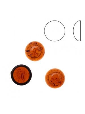 Cabochon tondo liscio, in resina, colore MARRONE SEMI-TRASPARENTE MACCHIATO