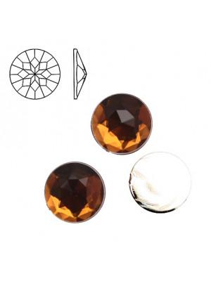 Cabochon tondo sfaccettato, in resina, colore MARRONE