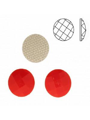 Cabochon tondo sfaccettato, termoadesivo, in resina, colore ROSSO