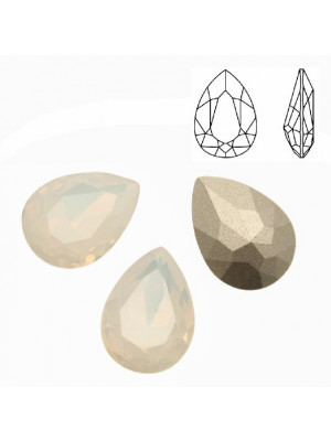 Gemma a goccia sfaccettata, in cristallo, colore WHITE OPAL
