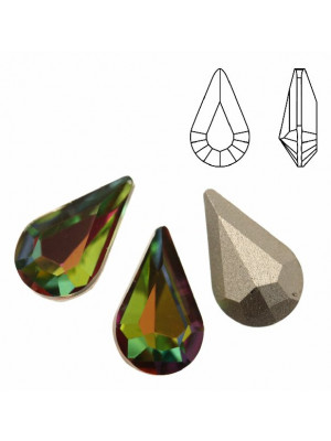 Gemma a goccia piccola sfaccettata, in cristallo, colore VITRAIL MEDIUM
