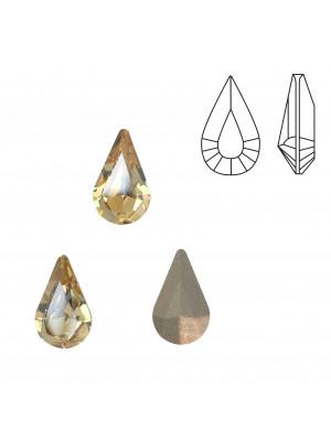 Gemma a goccia piccola sfaccettata, in cristallo, colore GOLDEN SHADOW