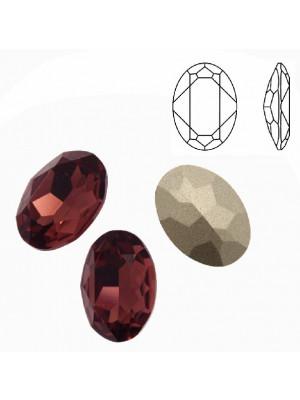 Gemma ovale sfaccettata, in cristallo, colore BURGUNDY