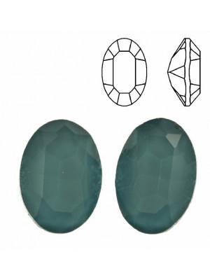 Gemma ovale sfaccettata, in cristallo, colore AZZURRO SCURO