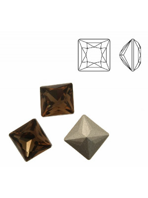 Gemma quadrata sfaccettata (con angoli a spigolo vivo), in cristallo, colore SMOKY QUARTZ