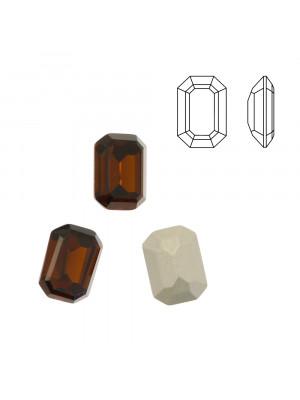 Gemma rettangolare sfaccettata (con gli angoli smussati), in cristallo, colore MARRONE SCURO
