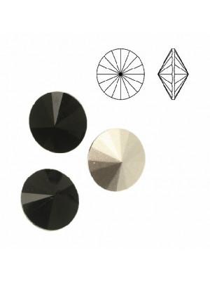 Gemma tonda a rivolo sfaccettata, in cristallo, colore NERO