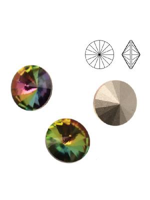 Gemma tonda a rivolo sfaccettata, in cristallo, colore VITRAIL MEDIUM