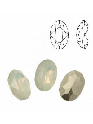 Gemma ovale sfaccettata, in plexiglass, colore WHITE OPAL