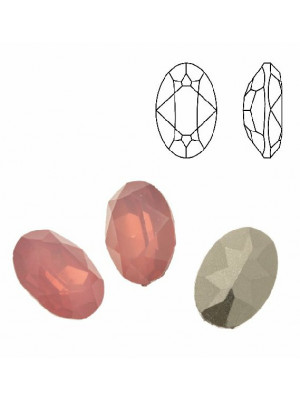 Gemma ovale sfaccettata, in plexiglass, colore ROSE OPAL