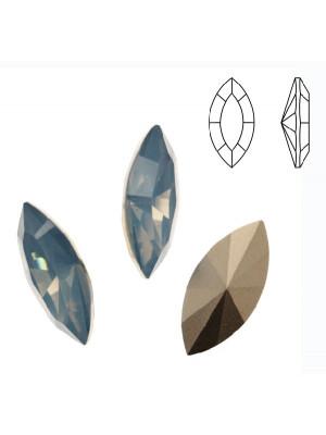 Gemma a navetta sfaccettata, in resina, colore AIR BLUE OPAL